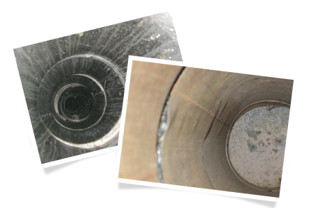 Damaged sections of prefabricated chimney after a chimney fire