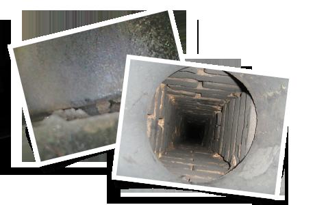 Degraded mortar joint inside flue