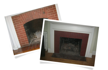 Fireplace without a door